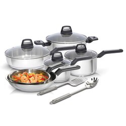 Black And Decker - Durable 12Piece Stainless Steel Cookware Set PFOA and PTFE Free - 83385