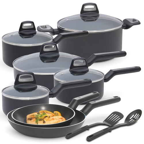 Black And Decker - Durable 14Piece Titaninum Nonstick Interior Cookware Set PFOA Free Black Slate - 83365