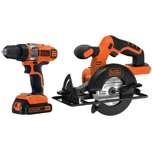 Black And Decker - 20V MAX Lithium Ion DrillDriver  Circular Saw Combo Kit - BDCD220CS