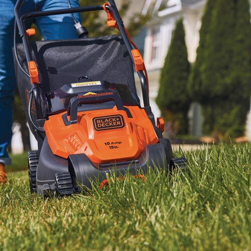 Black And Decker - 10 Amp 15 in Electric Lawn Mower with Comfort Grip Handle - BEMW472BH