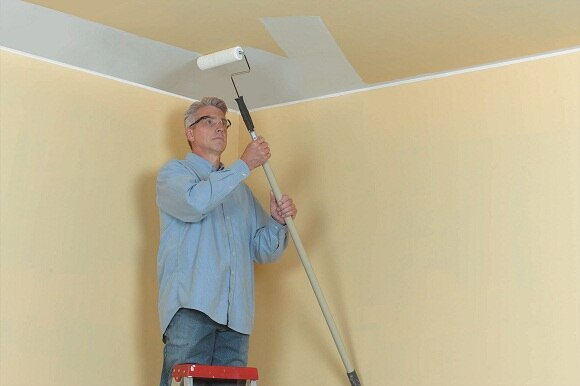 Use eye protection while painting overhead. Start at the corner farthest  from the entry door. Paint the ceiling along the narrow end in 3  3'  sections, ...